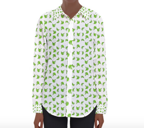 Womens Long Sleeve Button-down Platano Print Shirt