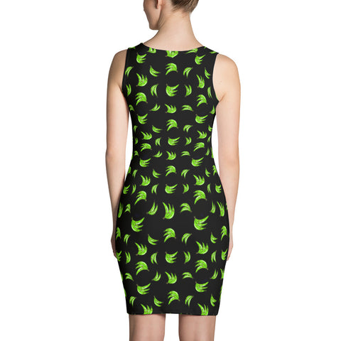 Black Platano Print Tank Bodycon Dress