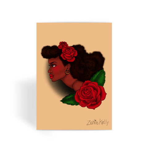 Afro Lady Head Greeting Card