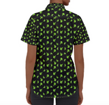 Womens Short Sleeve Button-down Platano Print Shirt