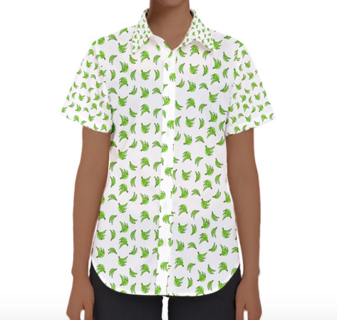 Short Sleeve Button-down Platano Print Shirt
