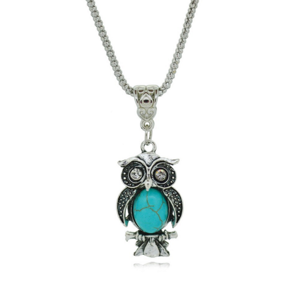 Vintage Special Owl Turquoise Necklace