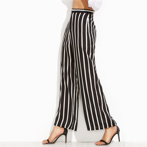 Black Vertical Striped High Waist Wide Leg Pants