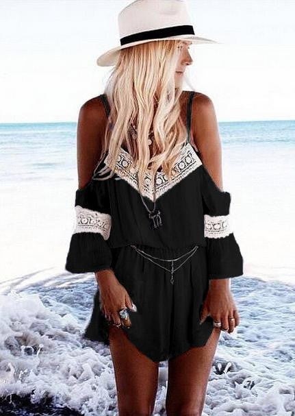 Black Lace Half-sleeve Romper