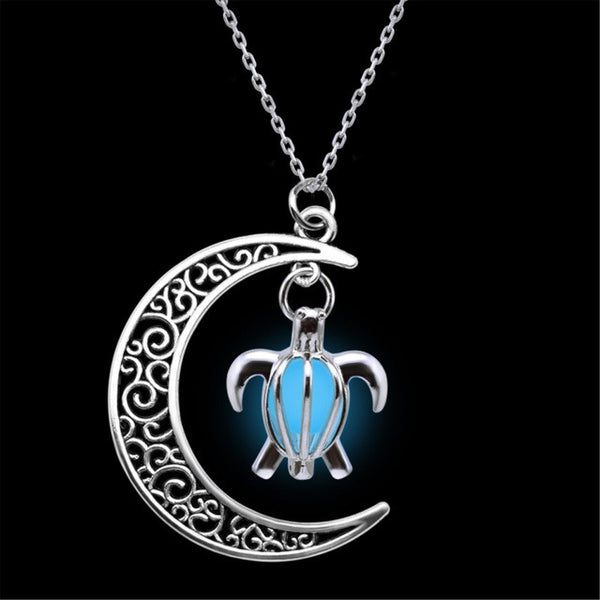 Crescent Moon Turtle Necklace