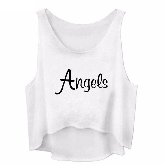 Angels Sleeveless Crop Top