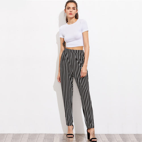 High Waist Waist Black and White Striped Pants