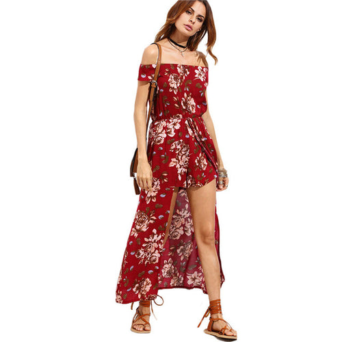 Burgundy Flower Print Short Sleeve Off The Shoulder High Low Romper