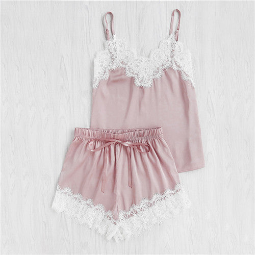 Lace Trim Satin Spaghetti Strap Cami Top and Shorts Pajama Set