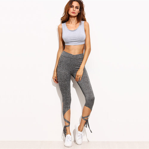 High Waist Crisscross Tie Fitness Elastic Leggings