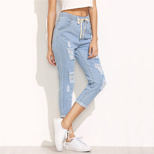 Blue Ripped Mid Waist Drawstring Skinny Denim Calf Length Jeans