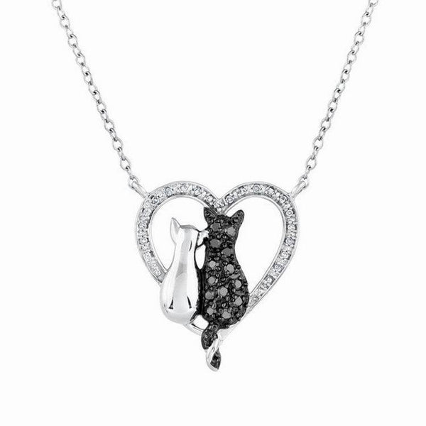 Black & White Heart Cat Necklace