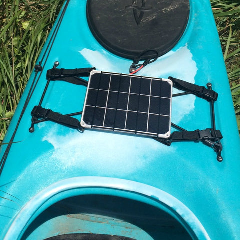 waterproof 6W solar panel with aluminium backing with urethane coating - featuring plastic edge mounts to allow easy webbing to connect to kayak.