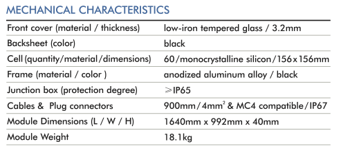 new zealand solar panel perc monocrystiline mechanical specifications