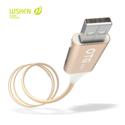 WSKEN M-Cable USB (male/female) to Micro USB and Apple Lightning (Aluminium Alloy)