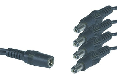 2.1mm DC splitter cable - 1 socket (female) to 4 plugs (male)