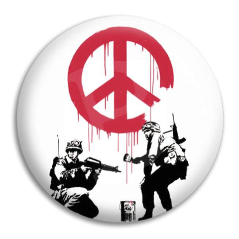 Banksy Peace Soldiers Button Badge