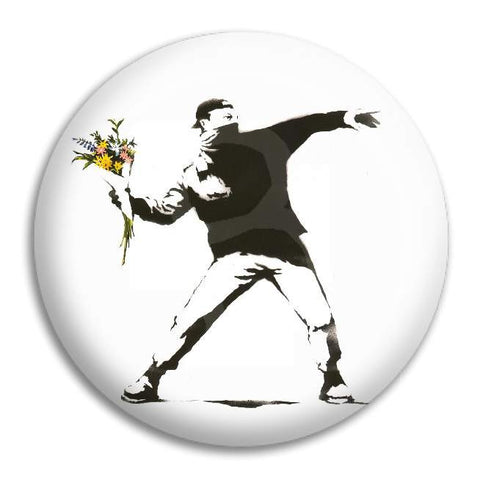 Banksy Throwing Flowers Button Badge