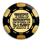 Bucks Party Poker Chip Button Badge