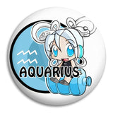Cartoon Aquarius Button Badge