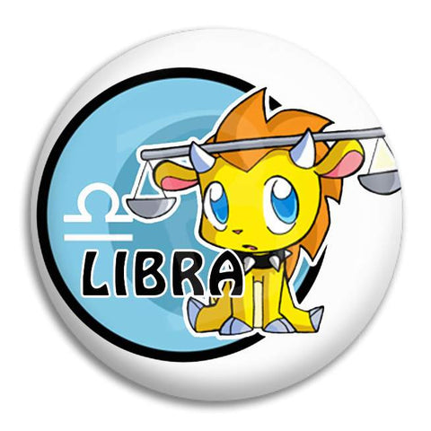 Cartoon Libra Button Badge