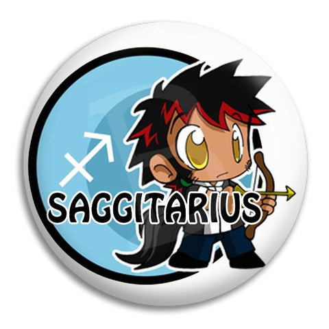 Cartoon Saggitarius Button Badge