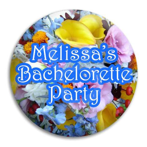 Hens Bachelorette Wildflowers Customisable Button Badge