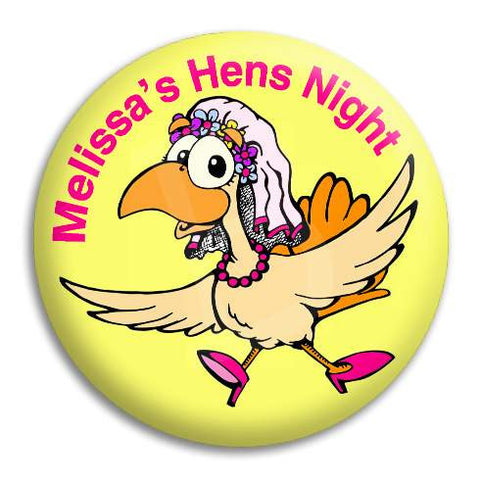 Hens Night Bridal Hen On Yellow Customisable Button Badge