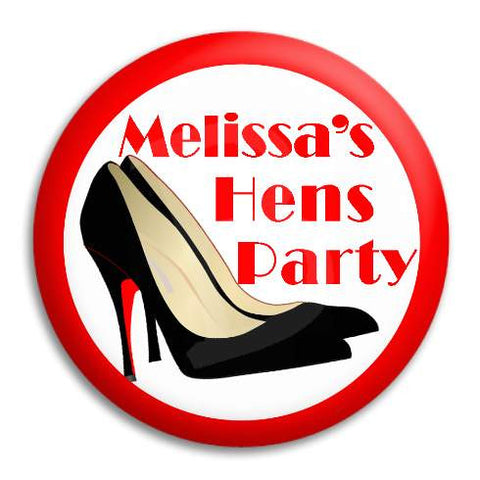 Hens Party Black Heels Customisable Button Badge