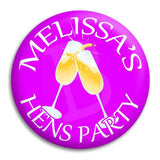 Hens Party Champagne Button Badge