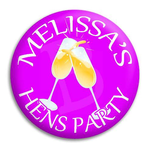 Hens Party Champagne Customisable Button Badge