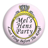 Hens Party Diamond Ring Button Badge