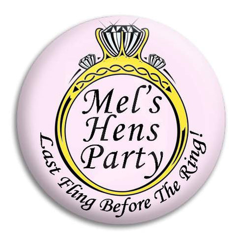 Hens Party Diamond Ring Customisable Button Badge
