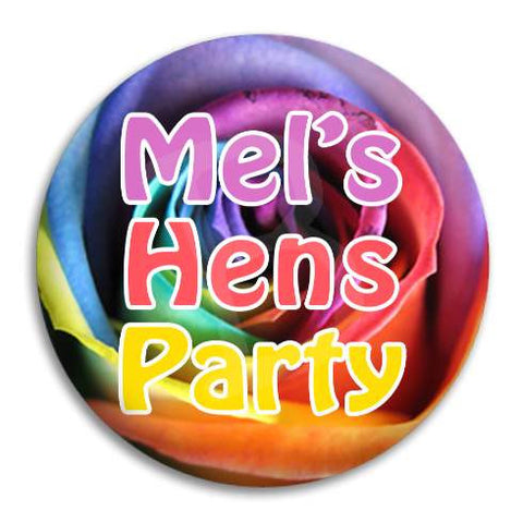 Hens Party Rainbow Rose Button Badge