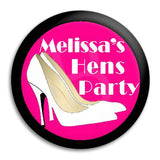 Hens Party White Heels Button Badge