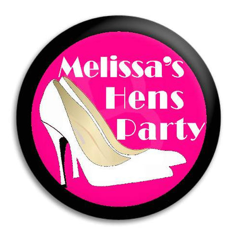 Hens Party White Heels Customisable Button Badge