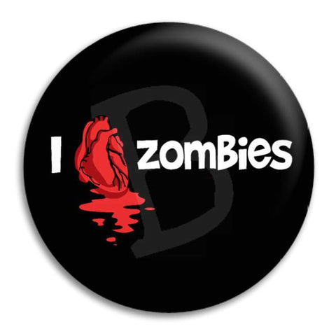 I Heart Zombies Button Badge