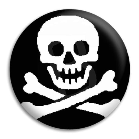 Jolly Roger Skull Button Badge
