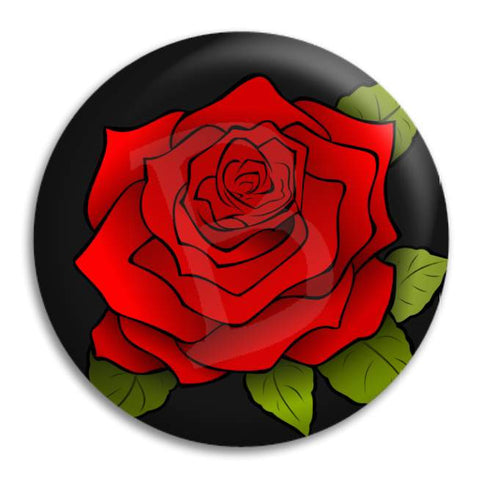 Red Rose Button Badge