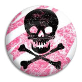 Skull Black On Pink Button Badge