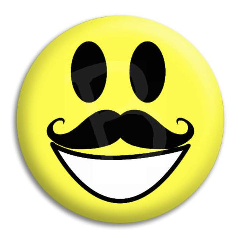 Smiley Mo Button Badge