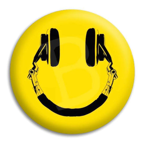Smiley Headphones Button Badge
