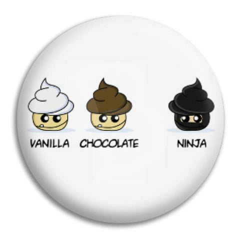 Vanilla Chocolate Ninja Cupcakes Button Badge
