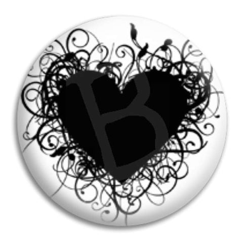 Heart Black Button Badge