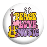 Peace Love Music Button Badge
