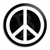 Peace White On Black Button Badge