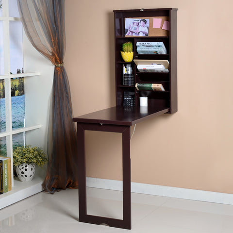 WMFLDDSK ViscoLogic Fold-Out Convertible Wall mount Desk - Brown