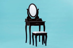 ViscoLogic Wooden Mirrored Makeup Vanity Table & Cushioned Stool (Oval Brown - Sleek)