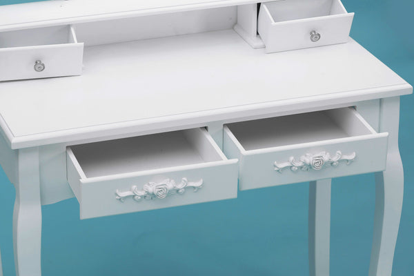 ViscoLogic Extension Mirror Makeup Vanity Dresser Table and Stool Set (White)