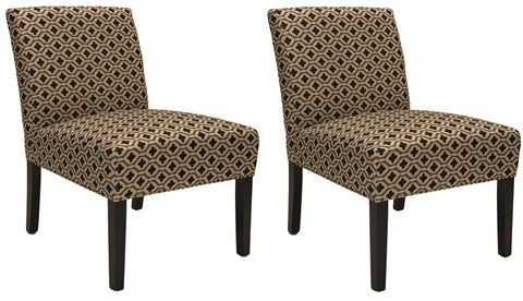 ViscoLogic Ashely Contemporary Pattern Fabric Upholstered Wooden Accent Chair with Thick padded Backrest and Seat (Clove, 2)